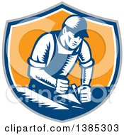 Clipart Of A Retro Woodcut Carpenter Wearing A Hat And Overalls Working With A Smooth Plane On A Wood Surface In A Gray Blue White And Orange Shield Royalty Free Vector Illustration