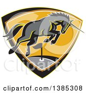 Clipart Of A Retro Charging Unicorn On A Golf Course Inside A Shield Royalty Free Vector Illustration by patrimonio