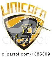 Clipart Of A Retro Charging Unicorn In A Shield With Text Royalty Free Vector Illustration