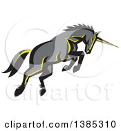 Clipart Of A Retro Charging Unicorn Royalty Free Vector Illustration