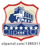 Clipart Of A Retro Triple Axle Dump Truck In A Tan Red White And Blue Shield With Stars Royalty Free Vector Illustration by patrimonio