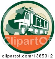 Clipart Of A Retro Triple Axle Dump Truck In A Green Tan And Orange Circle Royalty Free Vector Illustration
