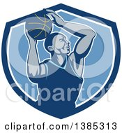 Clipart Of A Retro Black Male Basketball Player Doing A Layup In A Blue And White Shield Royalty Free Vector Illustration by patrimonio