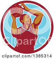 Retro Black Male Basketball Player Doing A Layup In A Red White And Blue Circle