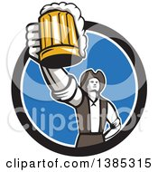 Clipart Of A Retro Male American Patriot Toasting With A Beer Mug In A Black White And Blue Circle Royalty Free Vector Illustration