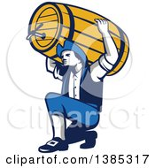 Clipart Of A Retro Male American Patriot Kneeling And Holding A Beer Keg On His Shoulders Royalty Free Vector Illustration