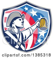 Clipart Of A Retro American Patriot Soldier Toasting With A Beer In An American Shield Royalty Free Vector Illustration