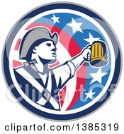 Retro American Patriot Soldier Toasting With A Beer In An American Circle