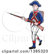 Clipart Of A Retro Cartoon American Revolutionary Soldier Marching With A Rifle Royalty Free Vector Illustration
