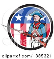 Clipart Of A Retro Cartoon American Revolutionary Soldier Marching With A Rifle In A Patriotic Circle Royalty Free Vector Illustration