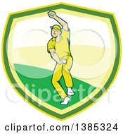Clipart Of A Retro Cartoon White Male Cricket Player Fast Bowling In A Shield Royalty Free Vector Illustration by patrimonio
