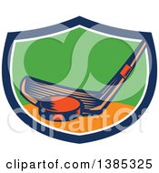 Clipart Of A Retro Woodcut Hockey Stick And Puck In A Blue White Orange And Green Shield Royalty Free Vector Illustration