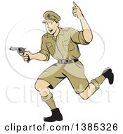 Clipart Of A Retro Cartoon WWI British Soldier Running With A Pistol Royalty Free Vector Illustration