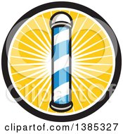 Clipart Of A Retro Blue And White Barber Pole In A Sun Burst Circle Royalty Free Vector Illustration