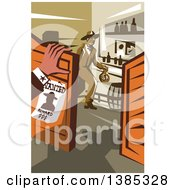 Clipart Of A Retro Wanted Outlaw Cowboy Robber In A Store Holding A Money Bag And Someone Watching Royalty Free Vector Illustration