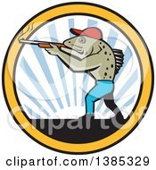 Clipart Of A Retro Sea Trout Fish Man Hunter Shooting A Shotgun Over A Sunset In A Circle Royalty Free Vector Illustration