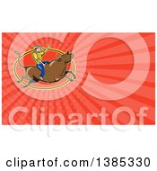 Cartoon Caucasian Rodeo Cowboy On A Bucking Steer Bull And Red Rays Background Or Business Card Design