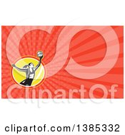 Clipart Of A Retro Female Volleyball Or Netball Player And Red Rays Background Or Business Card Design Royalty Free Illustration by patrimonio