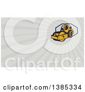 Retro Road Roller And Rays Background Or Business Card Design