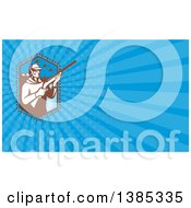 Clipart Of A Retro Duck Hunter At A Lake And Blue Rays Background Or Business Card Design Royalty Free Illustration by patrimonio
