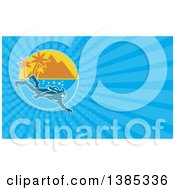 Clipart Of A Scuba Diver Near A Mountainous Tropical Island And Blue Rays Background Or Business Card Design Royalty Free Illustration