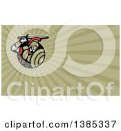 Clipart Of A Retro Roman Centurion Soldier Holding Up His Sword And Green Rays Background Or Business Card Design Royalty Free Illustration by patrimonio