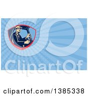Clipart Of A Retro Truck Driver And Blue Rays Background Or Business Card Design Royalty Free Illustration