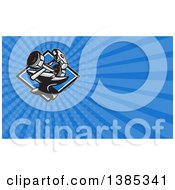 Clipart Of A Retro Dumbbell Sledgehammer And Anvil And Blue Rays Background Or Business Card Design Royalty Free Illustration by patrimonio