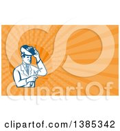 Clipart Of A Retro Male Scientist Using A Welder And Orange Rays Background Or Business Card Design Royalty Free Illustration