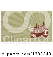 Silhouetted Farmer Driving A Tractor And Green Rays Background Or Business Card Design