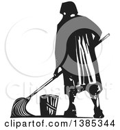 Rear View Of A Black And White Woodcut Janitor Mopping