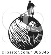 Clipart Of A Rear View Of A Black And White Woodcut Janitor Mopping On Top Of Planet Earth Royalty Free Vector Illustration