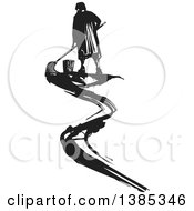 Rear View Of A Black And White Woodcut Janitor Mopping Up A Smear
