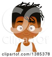 Clipart Of A Black Boy With A Dreadlock Hairstyle Royalty Free Vector Illustration