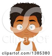 Clipart Of A Black Boy With A Curly Hairstyle Royalty Free Vector Illustration