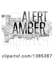 Clipart Of A Grayscale Amber Alert Tag Word Collage On White Royalty Free Illustration