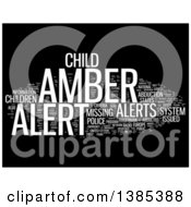 Clipart Of A White Amber Alert Tag Word Collage On Black Royalty Free Illustration