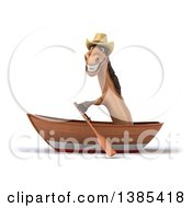 Clipart Of A 3d Brown Cowboy Horse Rowing A Boat On A White Background Royalty Free Illustration