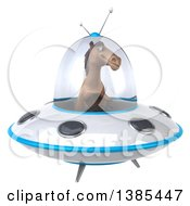 Clipart Of A 3d Brown Horse Flying A Ufo On A White Background Royalty Free Illustration