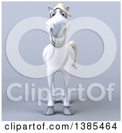 Clipart Of A 3d White Horse On A Gray Background Royalty Free Illustration