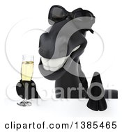 Clipart Of A 3d Black Horse Wearing Sunglasses And Holding A Glass Of Champagne Over A Sign Royalty Free Illustration