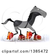 Clipart Of A 3d Black Horse Roller Blading On A White Background Royalty Free Illustration