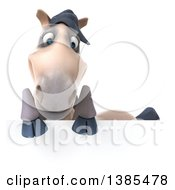 Clipart Of A 3d Beige Horse On A White Background Royalty Free Illustration by Julos