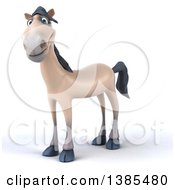 Clipart Of A 3d Beige Horse On A White Background Royalty Free Illustration