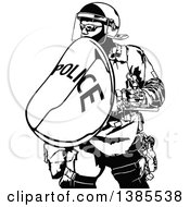Clipart Of A Black And White Police Officer In Protective Gear Royalty Free Vector Illustration