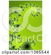 Clipart Of A Glowing Green Fractal Spiral And Curl Background Royalty Free Illustration by oboy