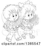 Clipart Of A Black And White Lineart Thoughtful Boy And Girl Walking With Backpacks And Carrying Flowers Royalty Free Vector Illustration