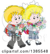 Clipart Of A Cartoon Thoughtful White Boy And Girl Walking With Backpacks And Carrying Flowers Royalty Free Vector Illustration by Alex Bannykh