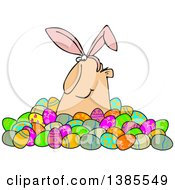 Clipart Of A Happy White Man Wearing Bunny Ears And Popping Out Of A Pile Of Decorated Easter Eggs Royalty Free Vector Illustration