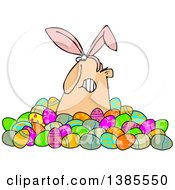 Clipart Of A Grumpy White Man Wearing Bunny Ears And Popping Out Of A Pile Of Decorated Easter Eggs Royalty Free Vector Illustration